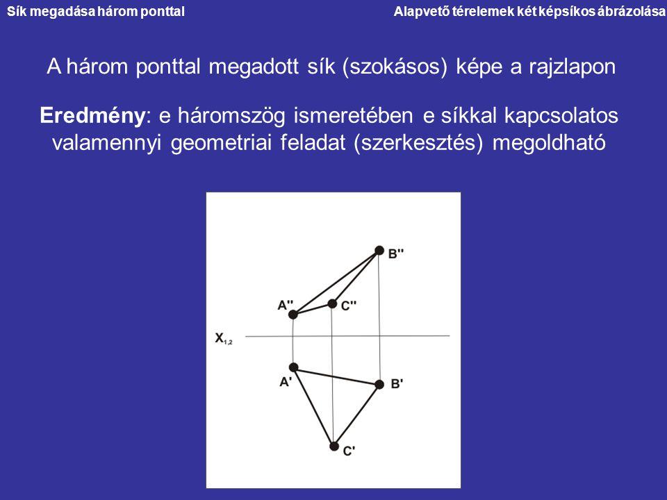Alapvető térelemek két képsíkos ábrázolása A három ponttal megadott sík (szokásos) képe a rajzlapon Eredmény: e háromszög ismeretében e síkkal kapcsol