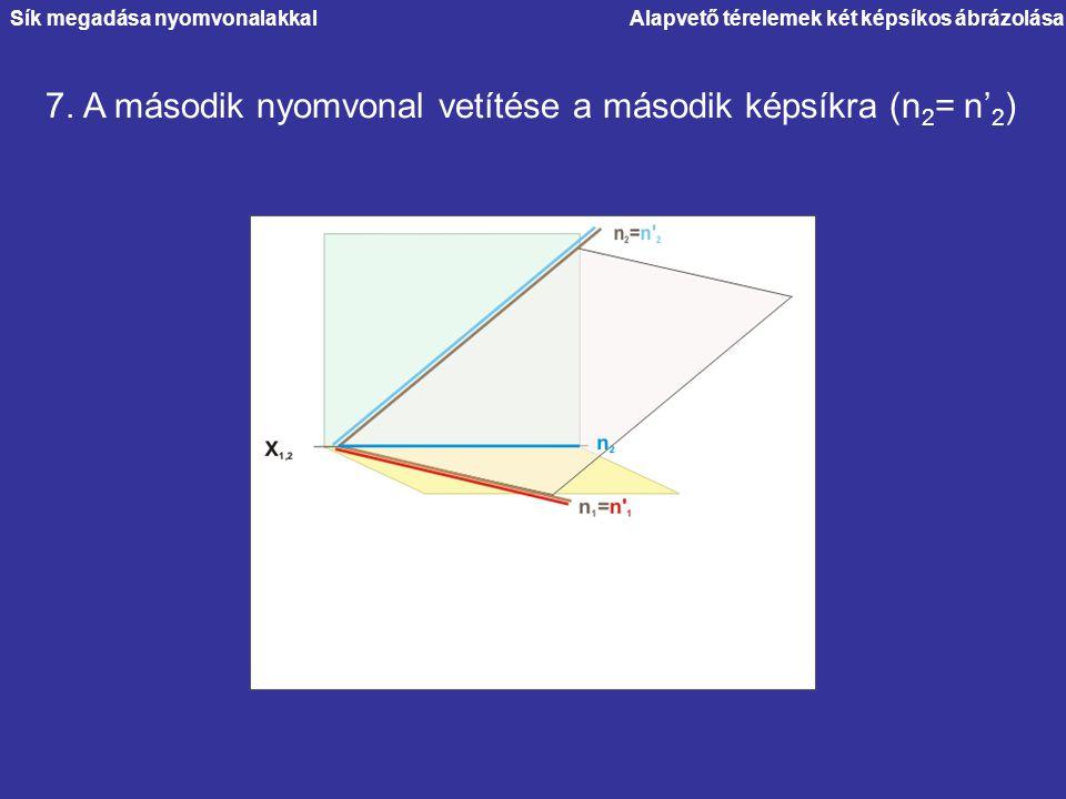 Alapvető térelemek két képsíkos ábrázolása 7. A második nyomvonal vetítése a második képsíkra (n 2 = n' 2 ) Sík megadása nyomvonalakkal