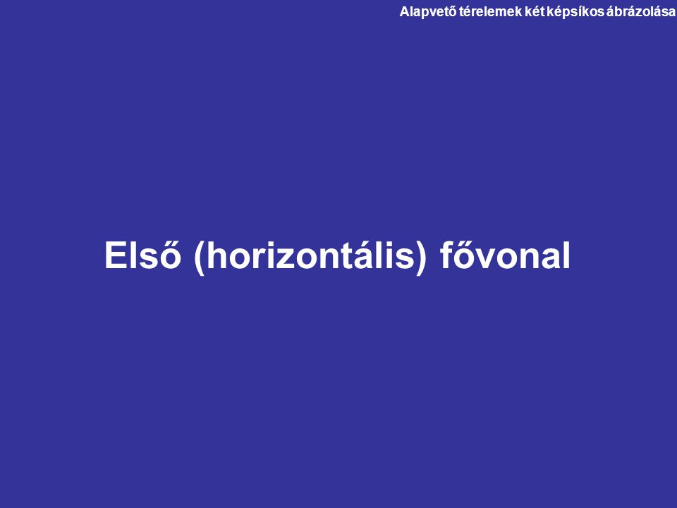 Alapvető térelemek két képsíkos ábrázolása Első (horizontális) fővonal