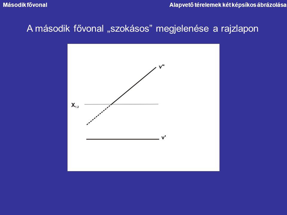 """Alapvető térelemek két képsíkos ábrázolása A második fővonal """"szokásos"""" megjelenése a rajzlapon Második fővonal"""