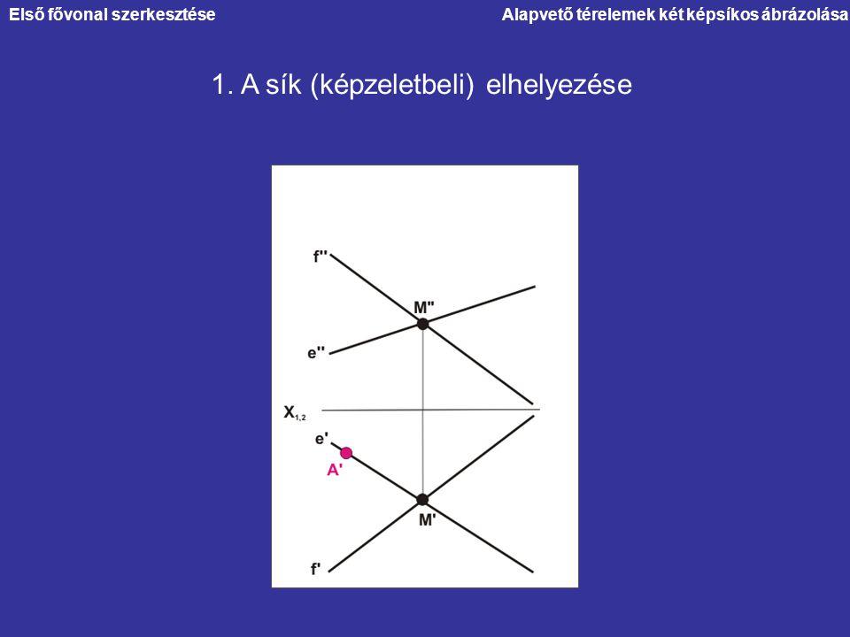 1. A sík (képzeletbeli) elhelyezése Alapvető térelemek két képsíkos ábrázolásaElső fővonal szerkesztése