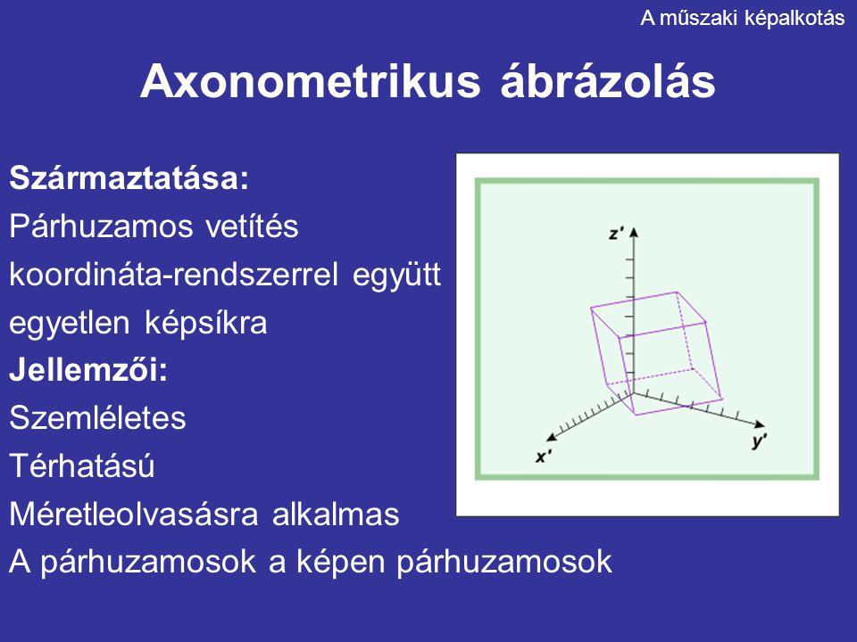 Axonometrikus ábrázolás Származtatása: Párhuzamos vetítés koordináta-rendszerrel együtt egyetlen képsíkra Jellemzői: Szemléletes Térhatású Méretleolva