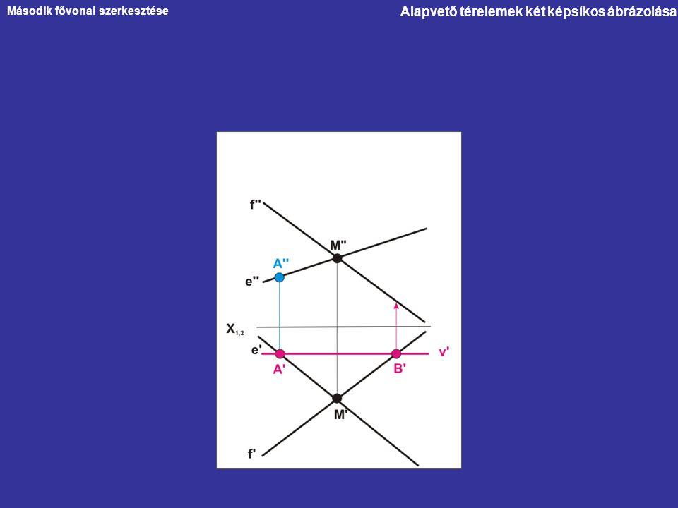 Alapvető térelemek két képsíkos ábrázolása Második fővonal szerkesztése