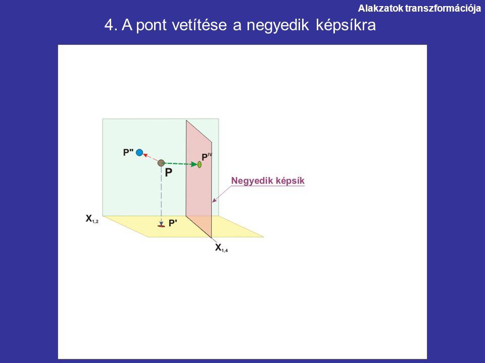 Alakzatok transzformációja. 4. A pont vetítése a negyedik képsíkra