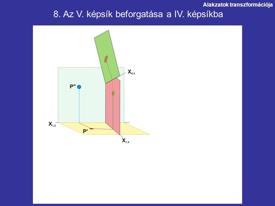 Alakzatok transzformációja. 8. Az V. képsík beforgatása a IV. képsíkba