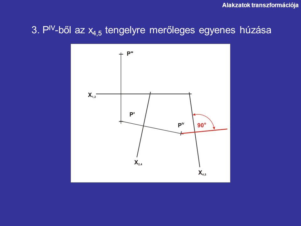 Alakzatok transzformációja 3. P IV -ből az x 4,5 tengelyre merőleges egyenes húzása
