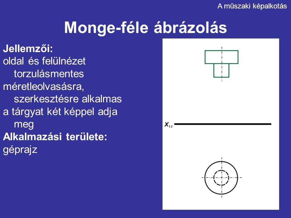 Monge-féle ábrázolás Jellemzői: oldal és felülnézet torzulásmentes méretleolvasásra, szerkesztésre alkalmas a tárgyat két képpel adja meg Alkalmazási