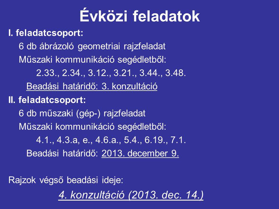 Évközi feladatok I. feladatcsoport: 6 db ábrázoló geometriai rajzfeladat Műszaki kommunikáció segédletből: 2.33., 2.34., 3.12., 3.21., 3.44., 3.48. Be