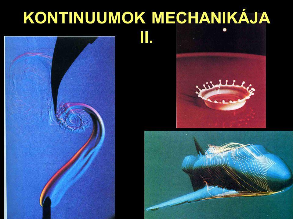 KONTINUUMOK MECHANIKÁJA Folyadékok mechanikája Súrlódó folyadékok, viszkozitás Hidrodinamika A víz viszkozitása 20ºC-on: A törvény pontosabb megfogalmazásához jutunk, ha elvégezzük a határátmenetet: Ez a Newton-féle súrlódási (viszkozitási) törvény, ahol az  tényező az ún.