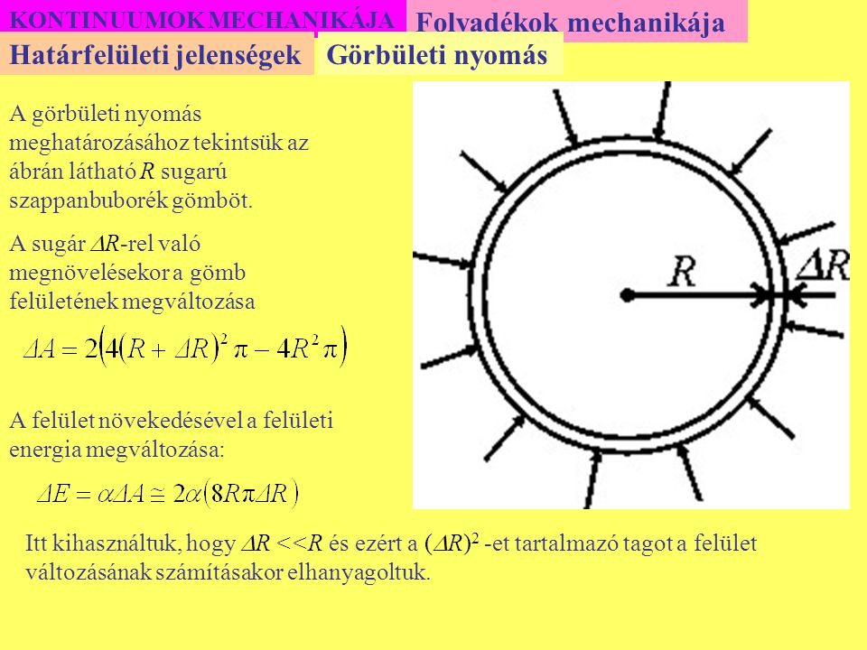 KONTINUUMOK MECHANIKÁJA Folyadékok mechanikája A görbületi nyomás meghatározásához tekintsük az ábrán látható R sugarú szappanbuborék gömböt. A sugár