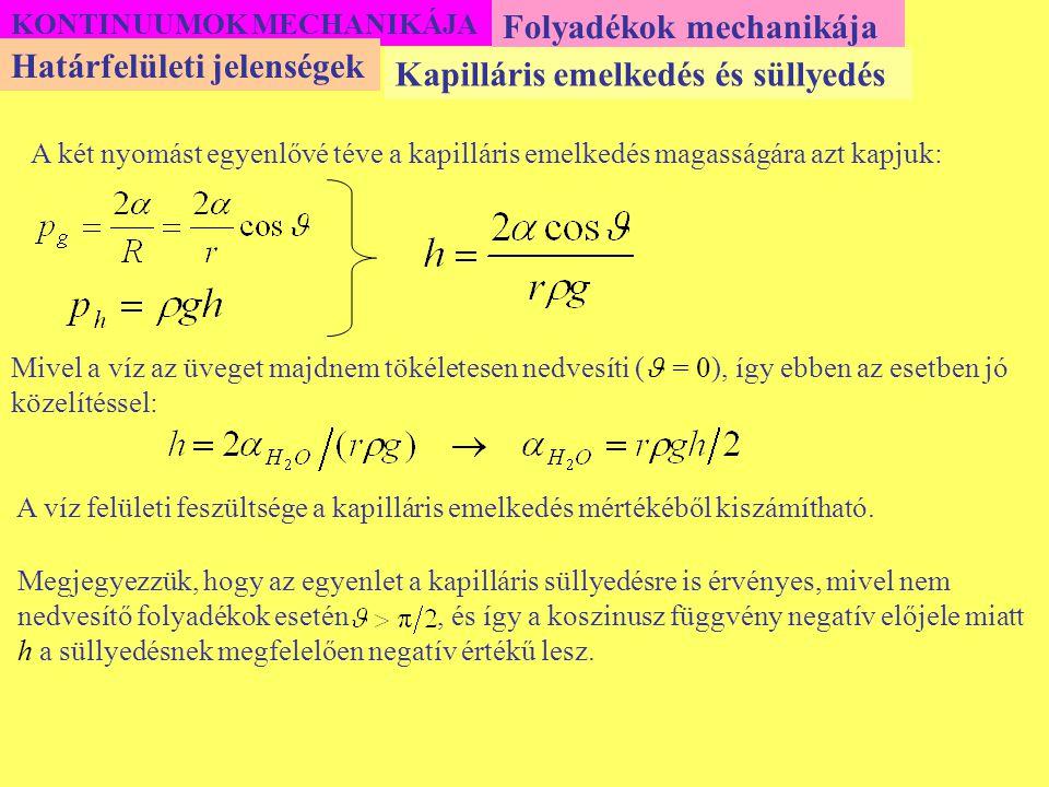 Megjegyezzük, hogy az egyenlet a kapilláris süllyedésre is érvényes, mivel nem nedvesítő folyadékok esetén, és így a koszinusz függvény negatív előjel