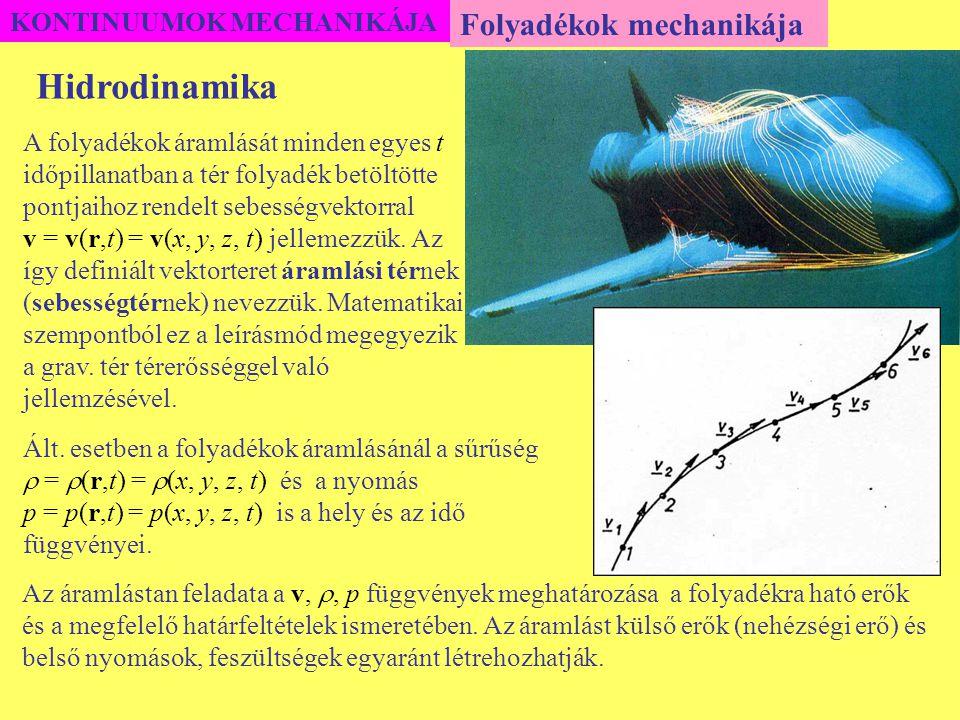 KONTINUUMOK MECHANIKÁJA Folyadékok mechanikája A folyadékok áramlását minden egyes t időpillanatban a tér folyadék betöltötte pontjaihoz rendelt sebes