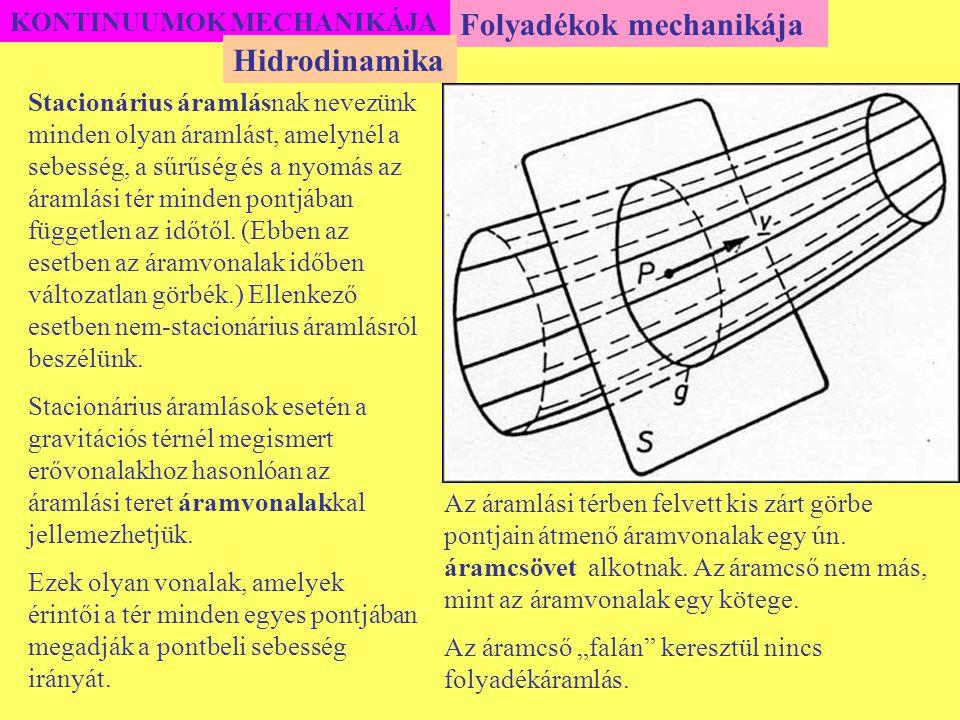 KONTINUUMOK MECHANIKÁJA Folyadékok mechanikája Stacionárius áramlásnak nevezünk minden olyan áramlást, amelynél a sebesség, a sűrűség és a nyomás az á