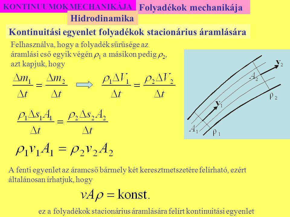 KONTINUUMOK MECHANIKÁJA Folyadékok mechanikája Kontinuitási egyenlet folyadékok stacionárius áramlására Hidrodinamika Felhasználva, hogy a folyadék sű