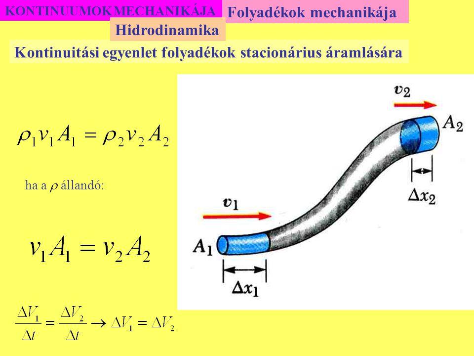 KONTINUUMOK MECHANIKÁJA Folyadékok mechanikája Kontinuitási egyenlet folyadékok stacionárius áramlására Hidrodinamika ha a  állandó:
