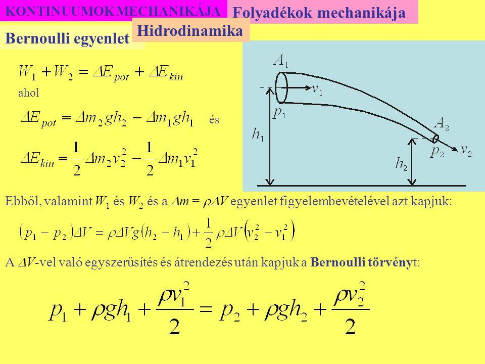KONTINUUMOK MECHANIKÁJA Folyadékok mechanikája Bernoulli egyenlet Hidrodinamika ahol és Ebből, valamint W 1 és W 2 és a  m =  V egyenlet figyelembe