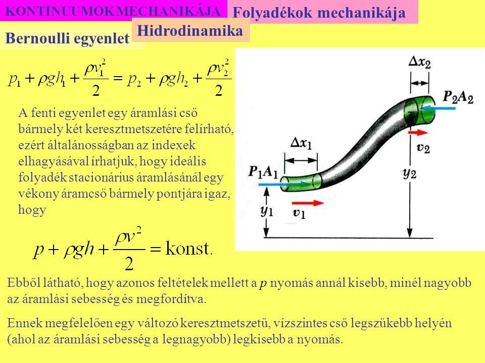 KONTINUUMOK MECHANIKÁJA Folyadékok mechanikája Bernoulli egyenlet Hidrodinamika A fenti egyenlet egy áramlási cső bármely két keresztmetszetére felírh