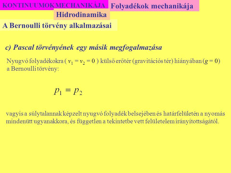KONTINUUMOK MECHANIKÁJA Folyadékok mechanikája A Bernoulli törvény alkalmazásai Hidrodinamika c) Pascal törvényének egy másik megfogalmazása Nyugvó fo