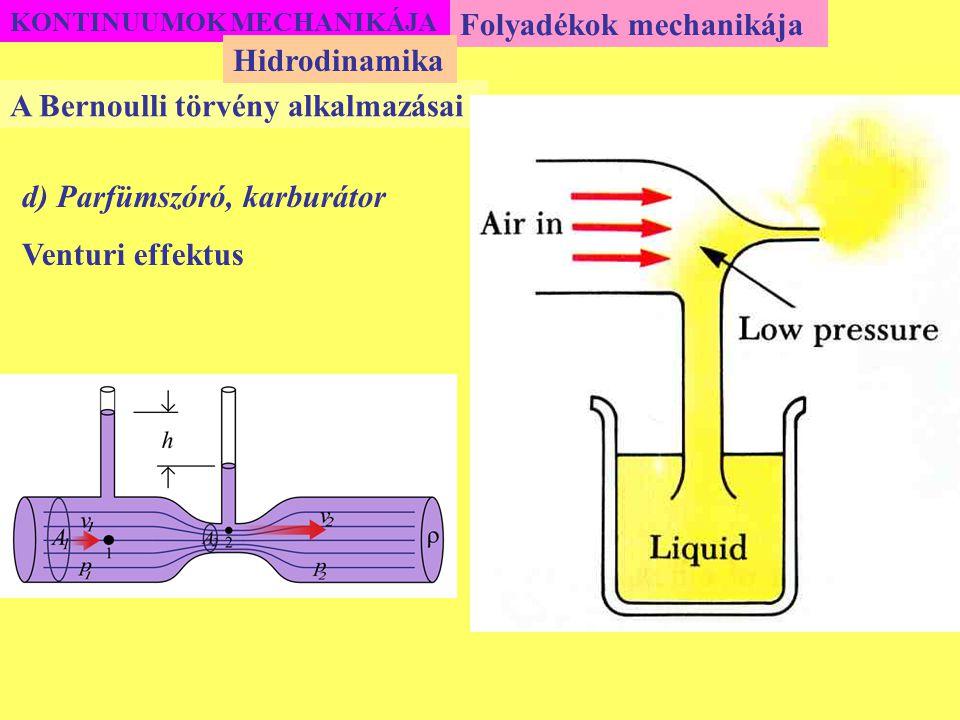 KONTINUUMOK MECHANIKÁJA Folyadékok mechanikája A Bernoulli törvény alkalmazásai Hidrodinamika d) Parfümszóró, karburátor Venturi effektus