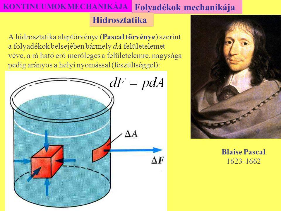 KONTINUUMOK MECHANIKÁJA Ennek a differenciálegyenletnek, a kezdeti feltételhez tartozó megoldása: Gázok mechanikája Aerosztatika A fenti egyenletek szerint egy gázban – állandó hőmérsékleten – a nyomás és a sűrűség a magassággal exponenciálisan csökken.