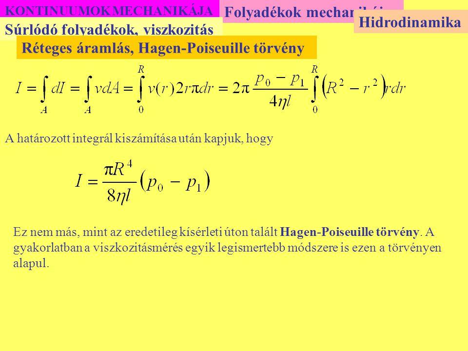 KONTINUUMOK MECHANIKÁJA Folyadékok mechanikája Súrlódó folyadékok, viszkozitás Hidrodinamika Réteges áramlás, Hagen-Poiseuille törvény A határozott in