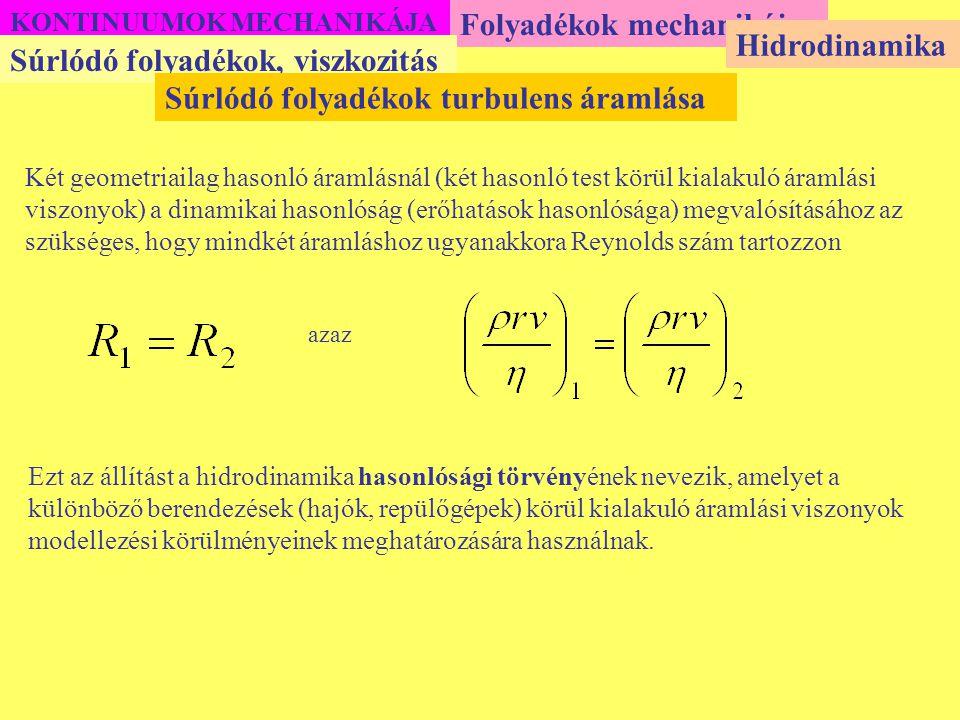 KONTINUUMOK MECHANIKÁJA Folyadékok mechanikája Súrlódó folyadékok, viszkozitás Hidrodinamika Súrlódó folyadékok turbulens áramlása Két geometriailag h
