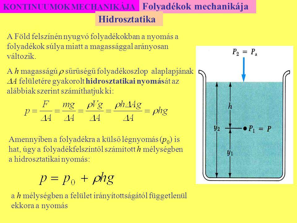 KONTINUUMOK MECHANIKÁJA Folyadékok mechanikája A Föld felszínén nyugvó folyadékokban a nyomás a folyadékok súlya miatt a magassággal arányosan változi