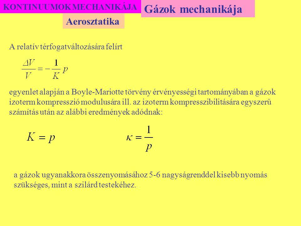 KONTINUUMOK MECHANIKÁJA A relatív térfogatváltozására felírt egyenlet alapján a Boyle-Mariotte törvény érvényességi tartományában a gázok izoterm komp