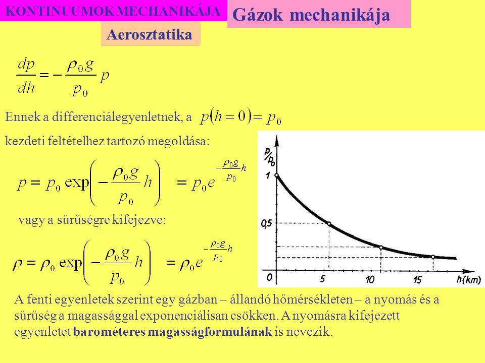 KONTINUUMOK MECHANIKÁJA Ennek a differenciálegyenletnek, a kezdeti feltételhez tartozó megoldása: Gázok mechanikája Aerosztatika A fenti egyenletek sz