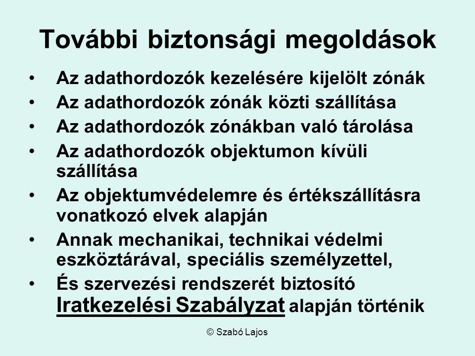 © Szabó Lajos További biztonsági megoldások Az adathordozók kezelésére kijelölt zónák Az adathordozók zónák közti szállítása Az adathordozók zónákban