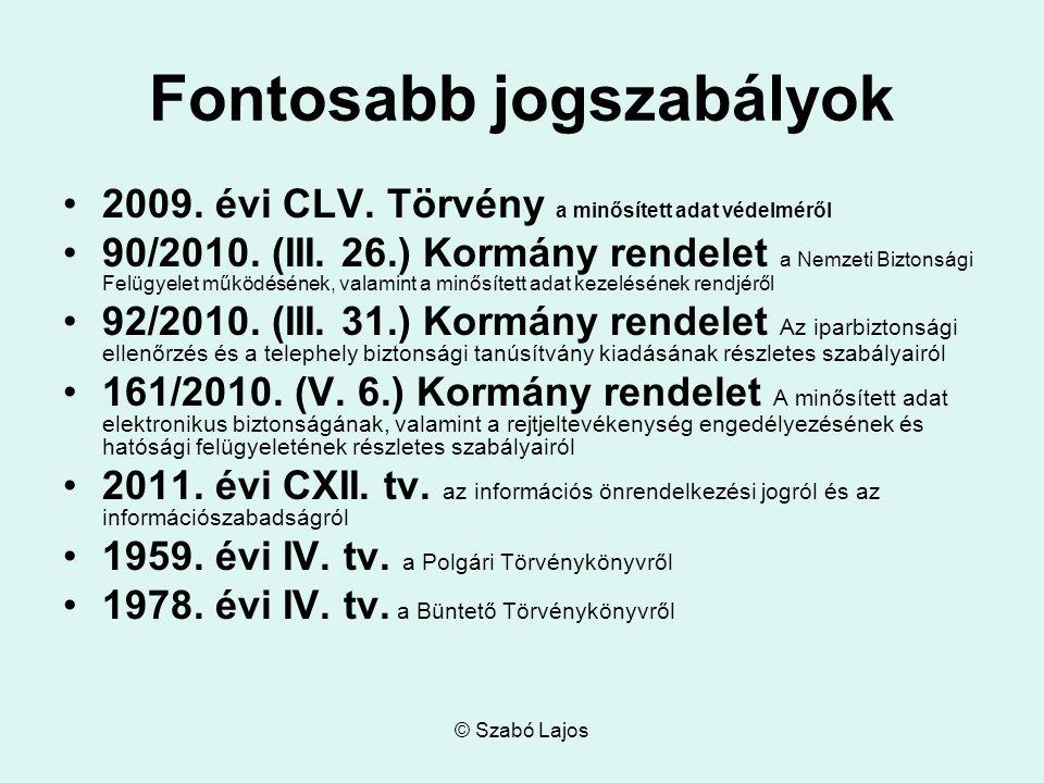 © Szabó Lajos Fontosabb jogszabályok 2009. évi CLV. Törvény a minősített adat védelméről 90/2010. (III. 26.) Kormány rendelet a Nemzeti Biztonsági Fel