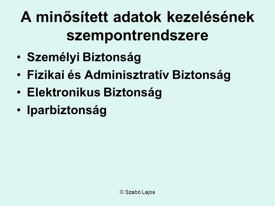 © Szabó Lajos A minősített adatok kezelésének szempontrendszere Személyi Biztonság Fizikai és Adminisztratív Biztonság Elektronikus Biztonság Iparbizt