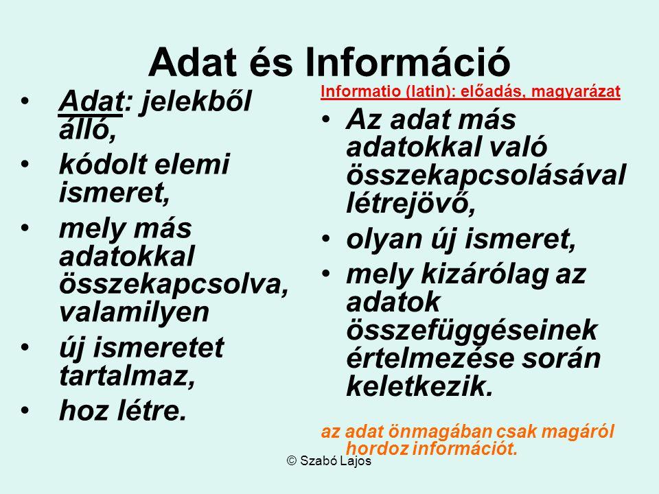 Adat és Információ Adat: jelekből álló, kódolt elemi ismeret, mely más adatokkal összekapcsolva, valamilyen új ismeretet tartalmaz, hoz létre. Informa