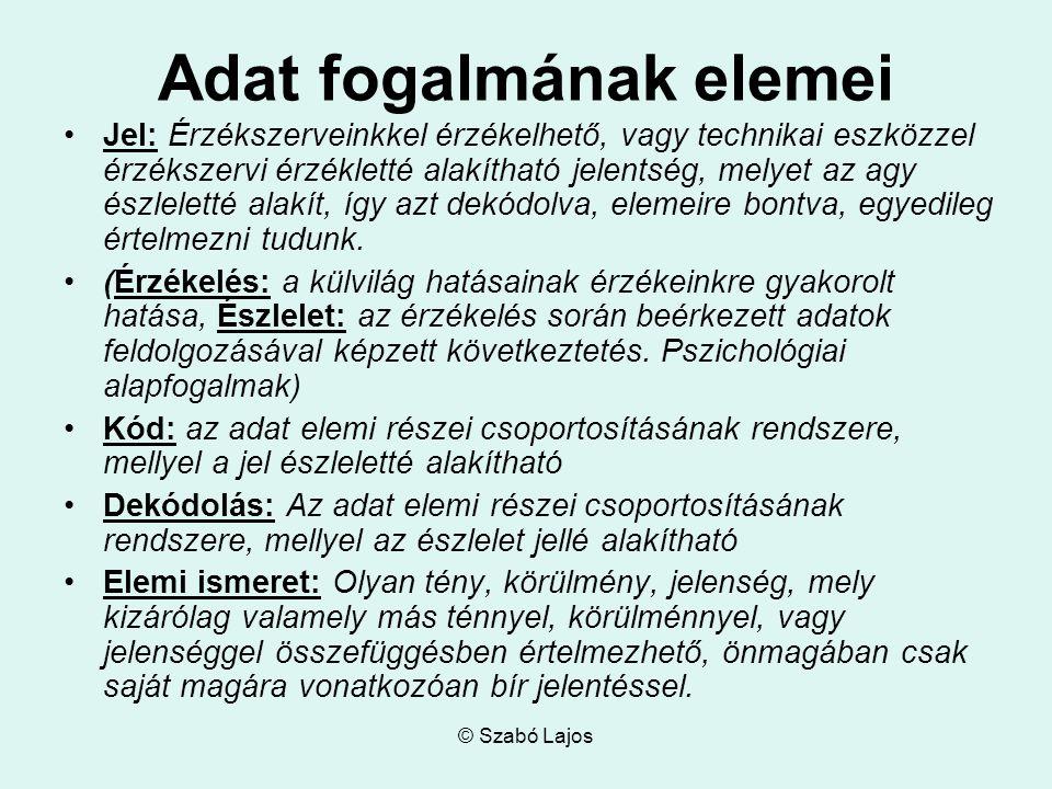 © Szabó Lajos Adat fogalmának elemei Jel: Érzékszerveinkkel érzékelhető, vagy technikai eszközzel érzékszervi érzékletté alakítható jelentség, melyet