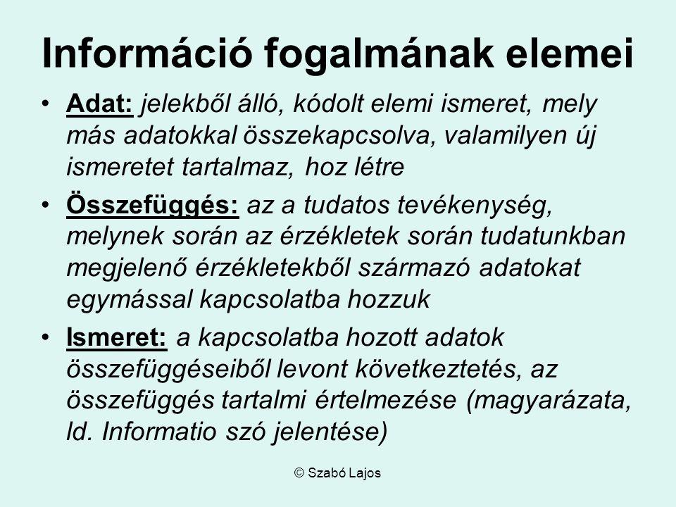 © Szabó Lajos Információ fogalmának elemei Adat: jelekből álló, kódolt elemi ismeret, mely más adatokkal összekapcsolva, valamilyen új ismeretet tarta