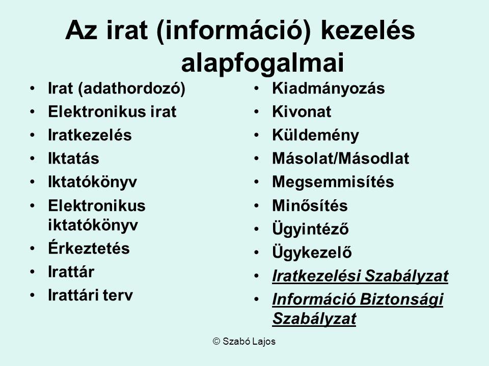 © Szabó Lajos Az irat (információ) kezelés alapfogalmai Irat (adathordozó) Elektronikus irat Iratkezelés Iktatás Iktatókönyv Elektronikus iktatókönyv