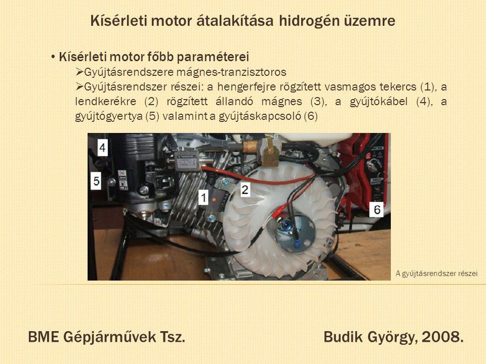 Kísérleti motor átalakítása hidrogén üzemre Kísérleti motor főbb paraméterei  Gyújtásrendszere mágnes-tranzisztoros  Gyújtásrendszer részei: a henge