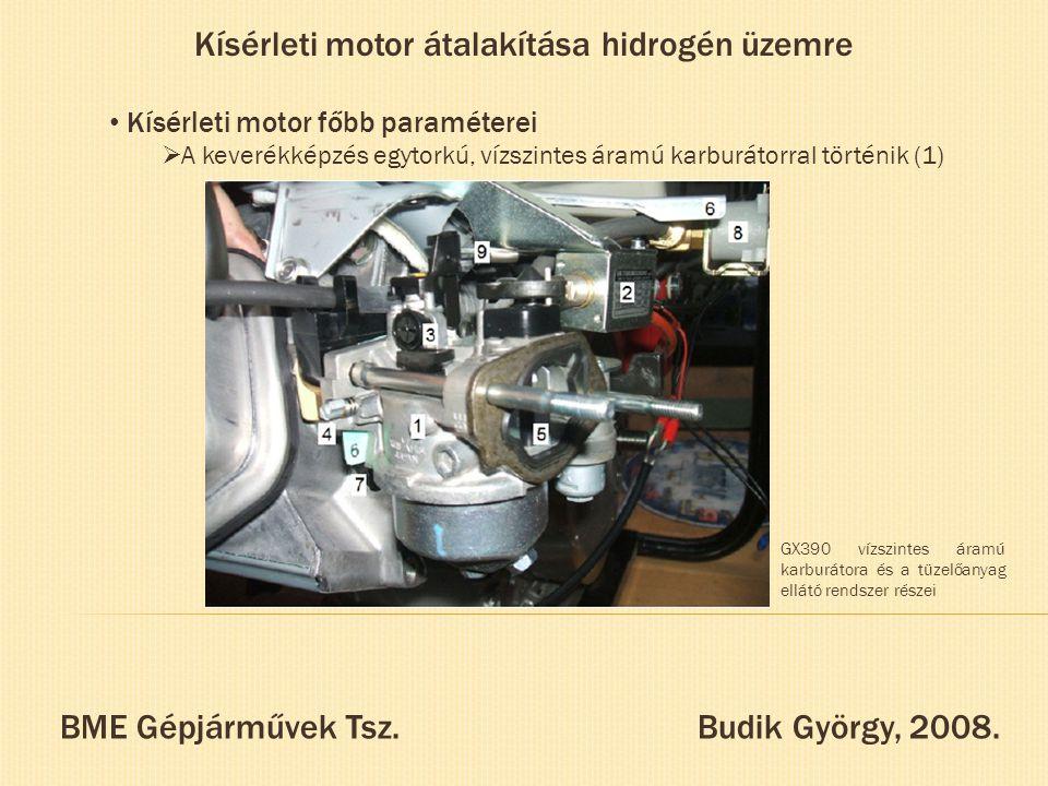 Kísérleti motor átalakítása hidrogén üzemre Kísérleti motor főbb paraméterei  A keverékképzés egytorkú, vízszintes áramú karburátorral történik (1) B