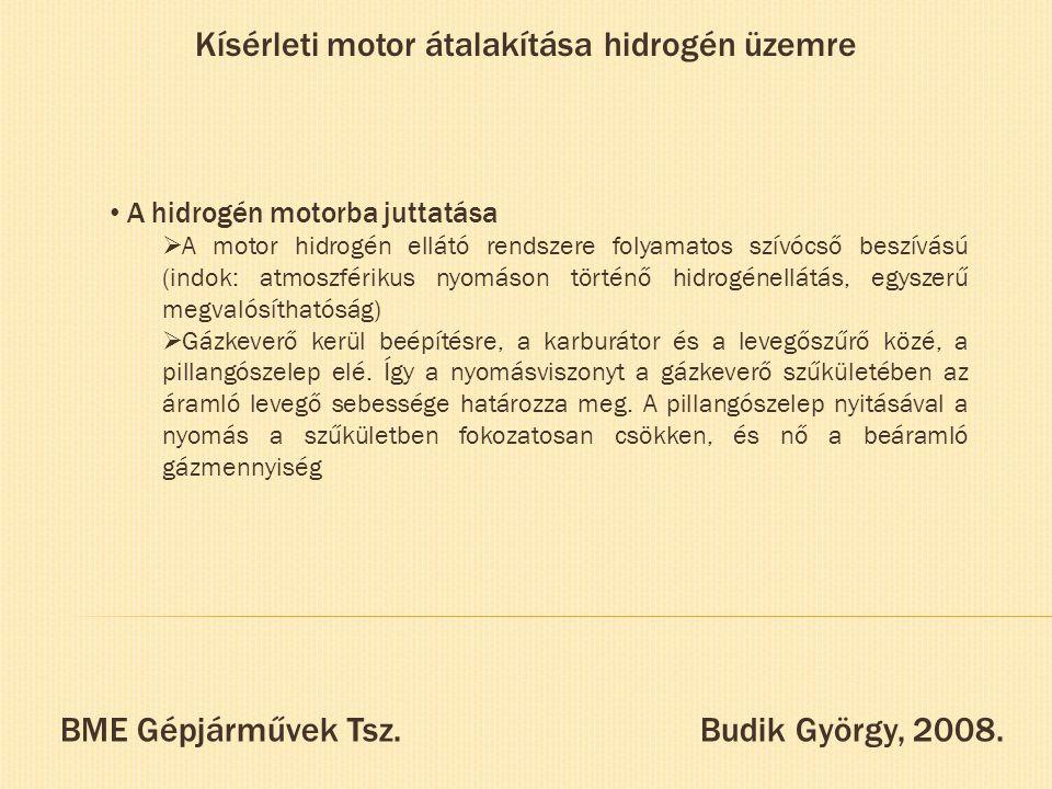 Kísérleti motor átalakítása hidrogén üzemre A hidrogén motorba juttatása  A motor hidrogén ellátó rendszere folyamatos szívócső beszívású (indok: atm