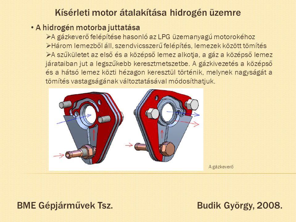 Kísérleti motor átalakítása hidrogén üzemre A hidrogén motorba juttatása  A gázkeverő felépítése hasonló az LPG üzemanyagú motorokéhoz  Három lemezb