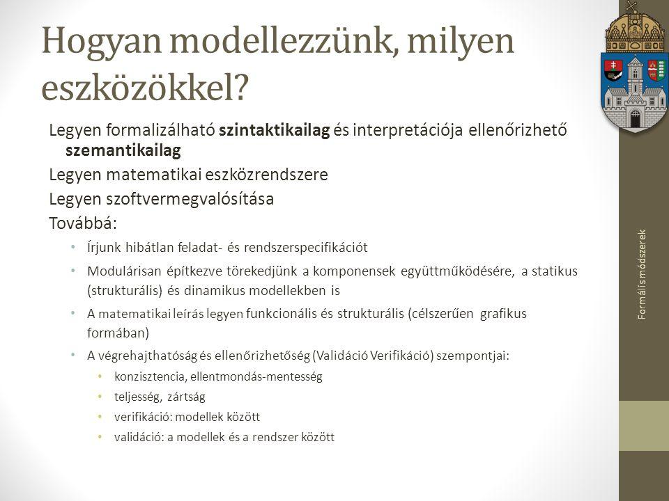 Formális módszerek Hogyan modellezzünk, milyen eszközökkel? Legyen formalizálható szintaktikailag és interpretációja ellenőrizhető szemantikailag Legy