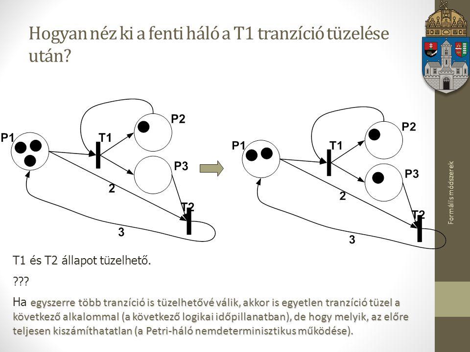 Formális módszerek Hogyan néz ki a fenti háló a T1 tranzíció tüzelése után? T1 és T2 állapot tüzelhető. ??? egyszerre több tranzíció is tüzelhetővé vá