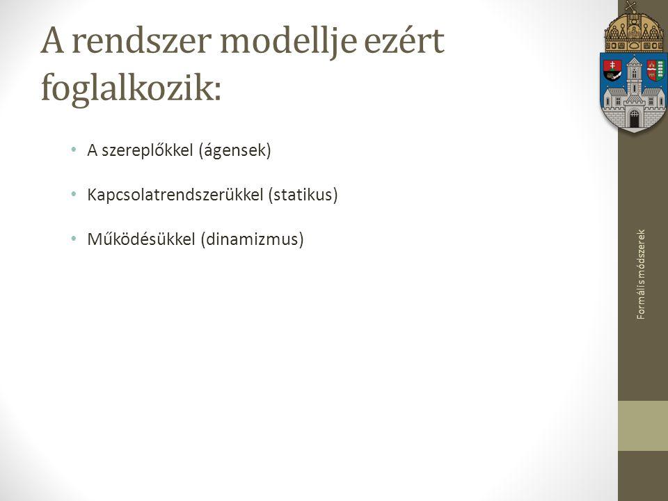 Formális módszerek A rendszer modellje ezért foglalkozik: A szereplőkkel (ágensek) Kapcsolatrendszerükkel (statikus) Működésükkel (dinamizmus)