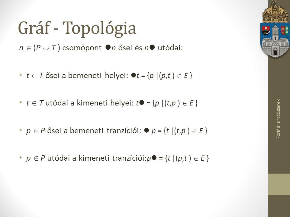 Formális módszerek Gráf - Topológia n  (P  T ) csomópont n ősei és n utódai: t  T ősei a bemeneti helyei: t = {p |(p,t )  E } t  T utódai a kimen