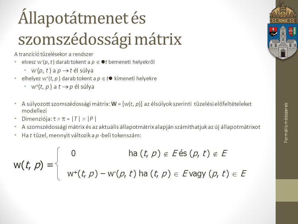 Formális módszerek Állapotátmenet és szomszédossági mátrix A tranzíció tüzelésekor a rendszer elvesz w - (p, t ) darab tokent a p  t bemeneti helyekr