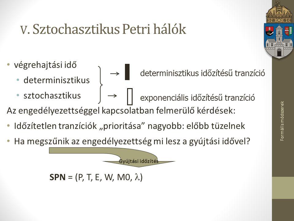 Formális módszerek V. Sztochasztikus Petri hálók végrehajtási idő determinisztikus sztochasztikus Az engedélyezettséggel kapcsolatban felmerülő kérdés