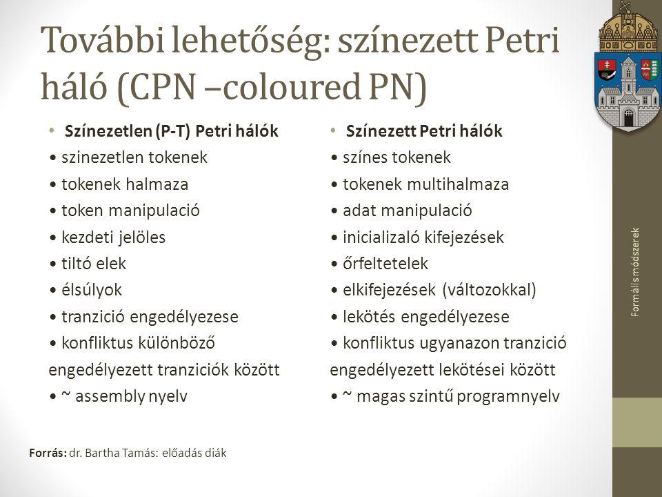 Formális módszerek További lehetőség: színezett Petri háló (CPN –coloured PN) Színezetlen (P-T) Petri hálók szinezetlen tokenek tokenek halmaza token