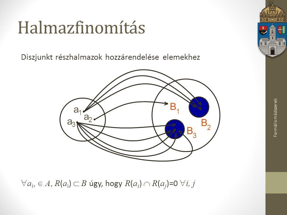 Formális módszerek Diszjunkt részhalmazok hozzárendelése elemekhez  a i,  A, R ( a i )  B úgy, hogy R ( a i )  R ( a j )=0  i, j Halmazfinomítás