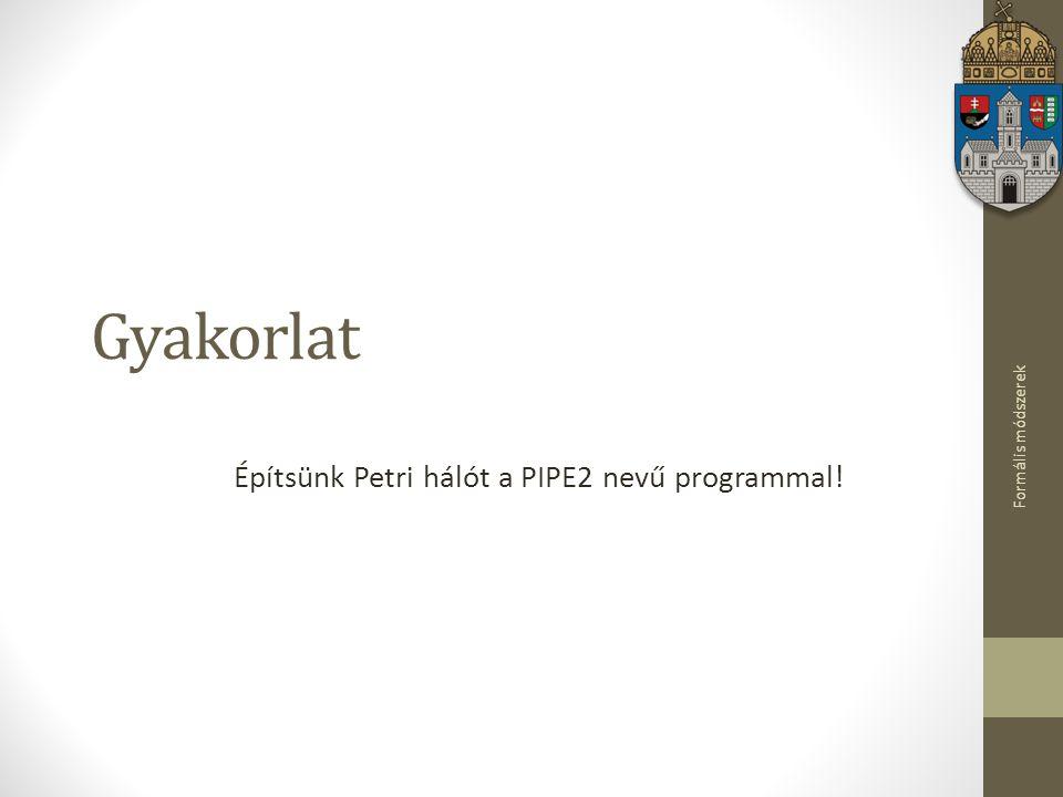 Formális módszerek Gyakorlat Építsünk Petri hálót a PIPE2 nevű programmal!