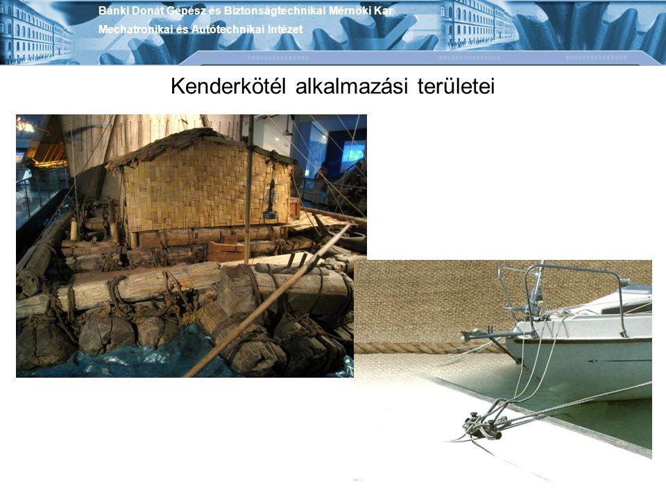 Kenderkötél alkalmazási területei Bánki Donát Gépész és Biztonságtechnikai Mérnöki Kar Mechatronikai és Autótechnikai Intézet